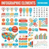 Colección de la plantilla de los elementos de Infographic - ejemplo del vector del negocio para la presentación, el folleto, la p ilustración del vector