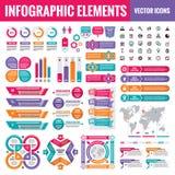 Colección de la plantilla de los elementos de Infographic - ejemplo en el estilo plano del diseño para la presentación, folleto,  stock de ilustración