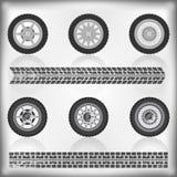 Colección de la rueda y del neumático Ilustración del Vector