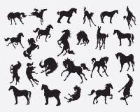 Colección de la silueta del caballo - ejemplo Imágenes de archivo libres de regalías