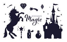 Colección de la silueta del vector del cuento de hadas con unicornio y el castillo libre illustration