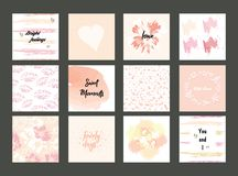 Colección de la tarjeta colorida rosada del día de tarjeta del día de San Valentín, y otras plantillas del aviador con las letras libre illustration