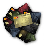 Colección de la tarjeta de crédito de los colores Imágenes de archivo libres de regalías