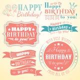 Colección de la tarjeta de felicitación del feliz cumpleaños en día de fiesta Foto de archivo