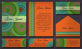 Colección de la tarjeta de la invitación Elementos decorativos étnicos Islam, árabe, indio, adornos del otomano Foto de archivo libre de regalías
