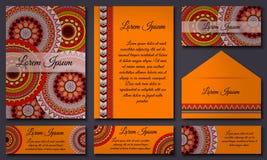 Colección de la tarjeta de la invitación Elementos decorativos étnicos Islam, árabe, indio, adornos del otomano Fotos de archivo libres de regalías