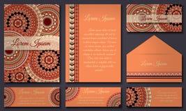Colección de la tarjeta de la invitación Elementos decorativos étnicos Islam, árabe, indio, adornos del otomano Imagen de archivo
