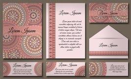 Colección de la tarjeta de la invitación Elementos decorativos étnicos Islam, árabe, indio, adornos del otomano Fotografía de archivo