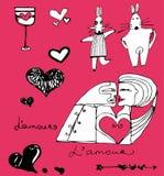 Colección de la tarjeta del día de San Valentín Fotos de archivo libres de regalías