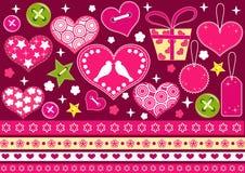 Colección de la tarjeta del día de San Valentín para el libro de recuerdos. Imagenes de archivo