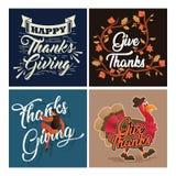 Colección de la tarjeta de felicitación de la celebración de la acción de gracias de la tipografía con el ornamento ilustración del vector