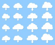 Colección de la transferencia directa de la nube con la sombra en fondo azul libre illustration