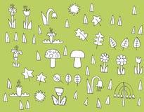 Colección de la vegetación de la historieta en blanco y negro Imágenes de archivo libres de regalías