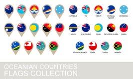 Colección de las banderas de países de Oceanía Foto de archivo libre de regalías
