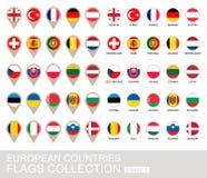 Colección de las banderas de países europeos Fotos de archivo