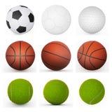 Colección de las bolas del deporte Fotos de archivo libres de regalías