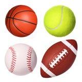 Colección de las bolas del deporte aislada Imagen de archivo libre de regalías