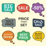 Colección de las burbujas del discurso fijada con los precios Imágenes de archivo libres de regalías