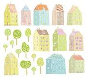 Colección de las casas y de los árboles Imagenes de archivo