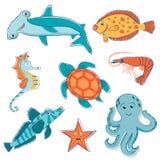 Colección de las criaturas del mar Fotos de archivo