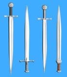 Colección de las espadas del metal aislada Imagenes de archivo