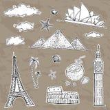 Colección de las etiquetas del viaje y del turismo stock de ilustración