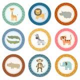 Colección de las etiquetas engomadas con los animales lindos del safari stock de ilustración