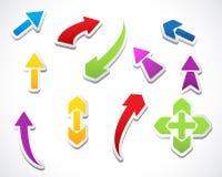 Colección de las etiquetas engomadas de las flechas del modelo del color Imagen de archivo libre de regalías