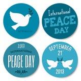 Colección de las etiquetas engomadas del día de la paz Fotografía de archivo libre de regalías