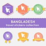 Colección de las etiquetas engomadas del viaje de Bangladesh Fotos de archivo
