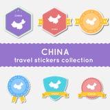 Colección de las etiquetas engomadas del viaje de China Fotos de archivo