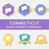 Colección de las etiquetas engomadas del viaje de Connecticut Fotografía de archivo libre de regalías
