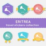 Colección de las etiquetas engomadas del viaje de Eritrea Imagenes de archivo
