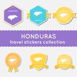 Colección de las etiquetas engomadas del viaje de Honduras Imagen de archivo