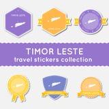 Colección de las etiquetas engomadas del viaje de Timor-Leste Foto de archivo