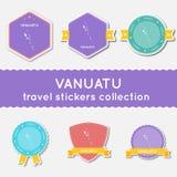 Colección de las etiquetas engomadas del viaje de Vanuatu Fotos de archivo