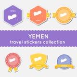 Colección de las etiquetas engomadas del viaje de Yemen Foto de archivo