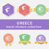 Colección de las etiquetas engomadas del viaje de Grecia Imagen de archivo libre de regalías