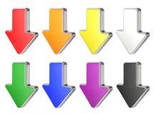 Colección de las flechas coloridas 3D en blanco Foto de archivo libre de regalías