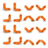Colección de las flechas de papel anaranjadas Imagen de archivo