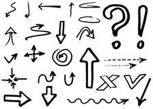 Colección de las flechas del vector del garabato Aislado Sistema dibujado mano Fotografía de archivo libre de regalías