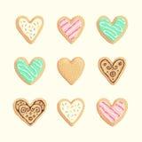 Colección de las galletas de las tarjetas del día de San Valentín del St Fotografía de archivo libre de regalías