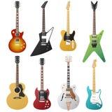 Colección de las guitarras eléctricas Imagen de archivo libre de regalías