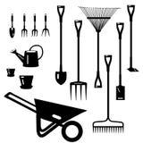Colección de las herramientas de jardín Foto de archivo libre de regalías