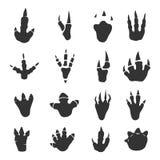 Colección de las huellas del dinosaurio en blanco Imagen de archivo