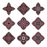 Colección de las mandalas Modelo redondo del ornamento Elementos decorativos de la vendimia Fondo dibujado mano Imagen de archivo