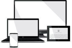 Colección de las pantallas - teléfono elegante, ordenador portátil, tableta,  ilustración del vector