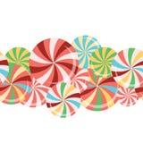 Colección de las piruletas Caramelo colorido en el palillo con diseño torcido Foto de archivo