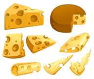 Colección de las rebanadas del queso Pedazo triangular de queso Sistema del icono del producto lácteo de la lechería Ejemplo plan libre illustration