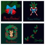 Colección de las tarjetas de Navidad Imagenes de archivo